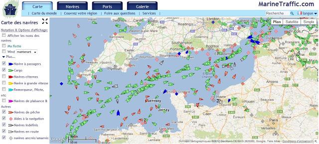 carte des bateaux en direct